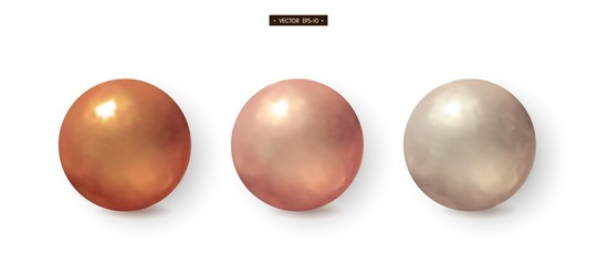 3d bronze, brass, copper, silver balls Set of realistic elements for design Vector illustration