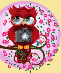 A red sweet owl in glasses and with a camera sits on a flowering branch of a tree. Photo business, photographer, vocation, profession