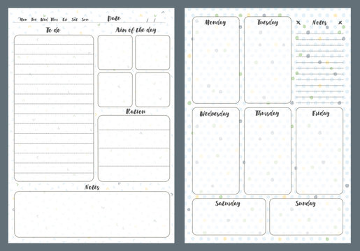 Notebook pages template, daily and notes, vector