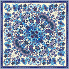 Vector ornament paisley bandana print, silk neck scarf or kerchief square pattern design style for print on fabric. Bandana paisley style
