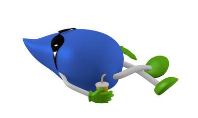 liegender 3d Karakter mit Sonnenbrille und Getränk in blau