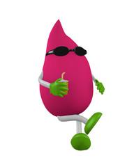 sitzender 3d Karakter mit Sonnenbrille und Getränk in pink