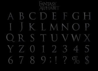 Fantasy Steel Alphabet 3D illustation