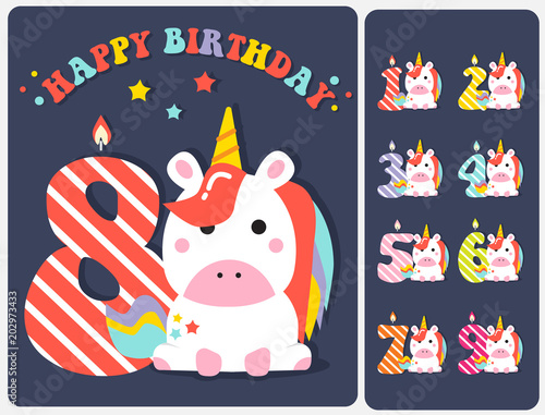 Cute Unicorn Happy Birthday Card With Candle Number Editable Vector Illustration