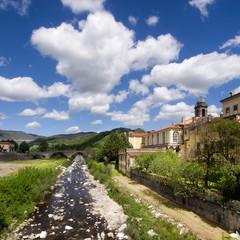 Pontremoli town, Lunigiana, Italy. Square crop.