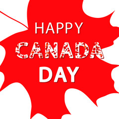 Canada Day red maple leaves and text