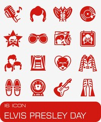 Vector Elvis Presley Day icon set