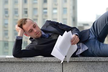 dismissed employee sleeps on the street