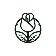 Red rose line art logo template Vector illustration