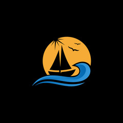 Sailboat in the sea. sailboat Logo template vector illustration