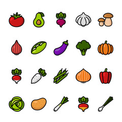 Color line icon set of Vegetables. Pixel perfect icons