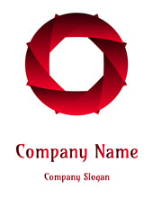 Geometric company logo, Circle  Red sun devil