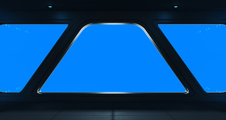 Spaceship futuristic interior with window view