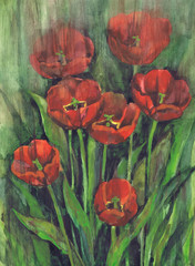 """Drawing """"Blossoming Tulips"""". Paper, watercolor"""