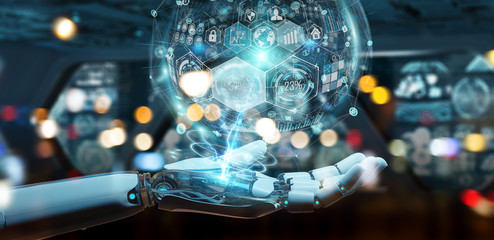 White cyborg hand using digital chart interface 3D rendering