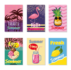 Vector set of bright summer cards. Beautiful summer posters with pineapple, watermelon, lemon, palm leaves and hand written text. Journal cards. Cartoon style
