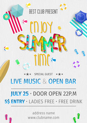 Summer party invitation template invitation. Pool and beach party invitation with umbrellas, balls, swim ring, sunglasses, surfboard, hat, and sandals. Poster or flyer Summer party vector design.