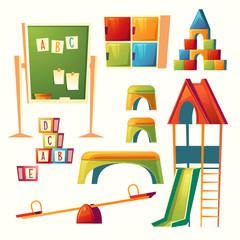 Vector set of cartoon kindergarten, children playground. Preschool education with recreational equipment - swing, slide, teeterboard. Elements for teaching and learning kids.