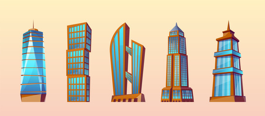 Vector set of modern buildings in cartoon style. Urban skyscrapers, town exterior. Business residential construction. Architecture, cityscape concept