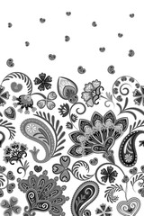 Border Indian floral Paisley patten. Seamless ornament print. Ethnic Mandala towel. Vector Henna style. Black and white.