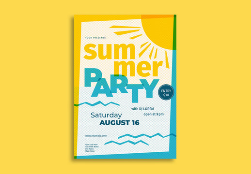 Summer Party Flyer Layout with Sun Illustration