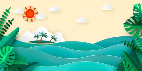 Sea island palm tropical leaves sun clouds in papercut style. Advertising banner for promotion travel services Vector illustration