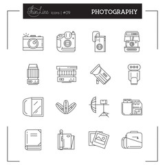 Photography, Photo, Photographic Equipment and more thin line icons set, flat design, vector illustration.