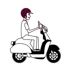 Courier driving scooter vector illustration graphic design