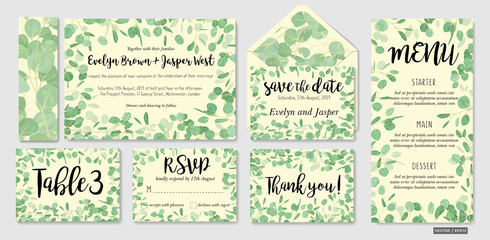 Wedding invite, invitation, menu, envelope, rsvp, thank you card vector floral greenery design: Eucalyptus green leaves foliage herbs greenery frame border. Watercolor template set