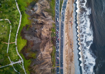 Drone photo of Costa Verde highway near beach in Lima