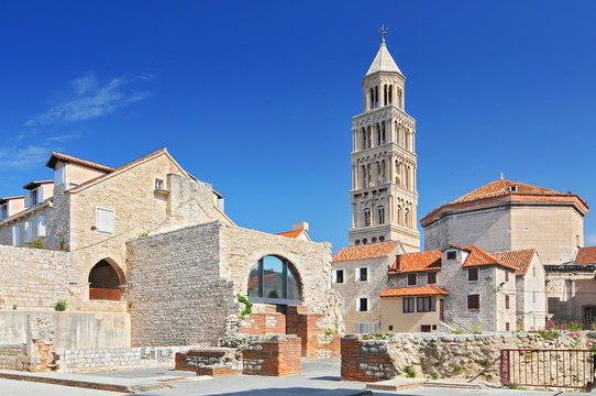 Bell tower of the cathedral of Saint Doimus in Split, Croatia.