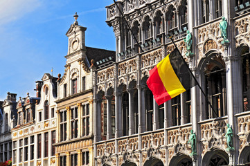 Belgian flag on the Grand Place Broodhuis in Brussels.