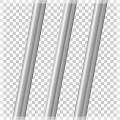 Metal pipes on a transparent background. Vector illustration of a parallel pipe.