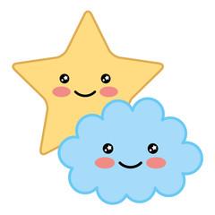 kawaii cartoon cloud and star adorable vector illustration