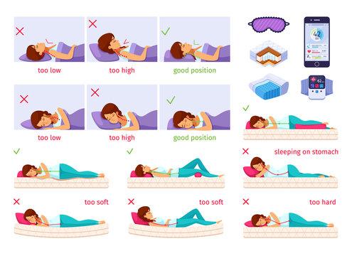 Sleeping Nice Cartoon SetSleeping Well Cartoon SetSleep Better Infographic Composition