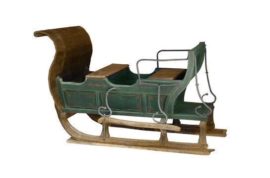 Vintage aged sleigh isolated on white