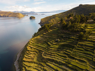 Aerial photo of Island of the Sun at Bolivian side of Lake Titicaca