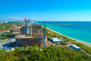 Aerial photo oceanfront real estate condo construction Miami Beach
