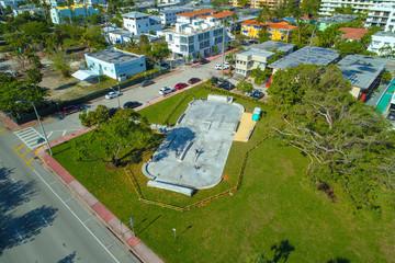 Aerial image of a Miami Beach skate park