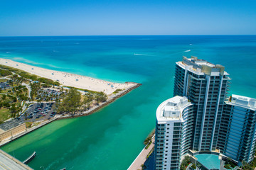 Aerial image of the Haulover Beach Bal Harbour ocean inlet