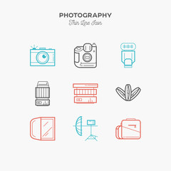 Photography equipment, camera, thin line color icons set, vector illustration