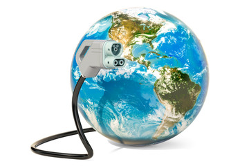 Electric car charging plug with Earth Globe, 3D rendering