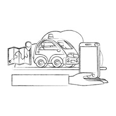 isometric car and smartphone with gps application vector illustration design