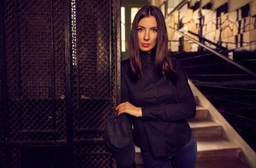 Fashion photo of trendy woman in black shirt