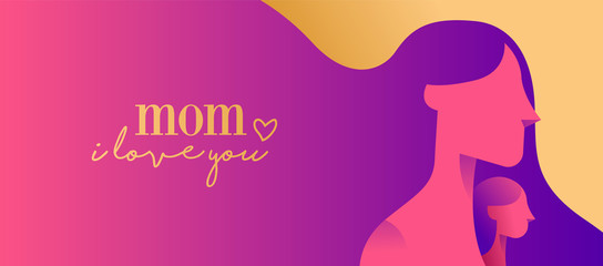 Happy mother day web banner for children love