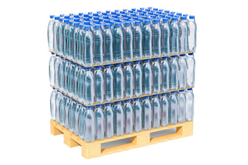 Wooden pallet with water bottles wrapped in the shrink film, 3D rendering