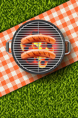Vector realistic 3d illustration of grilled sausage on barbecue grill. Bbq menu, picnic in park, banner or poster design