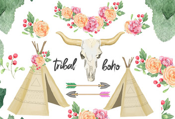 Skull teepee design tribal boho watercolor flowers raibbon bounquet character drawing illustration geometric clip art for birthday party print celebration clothing on white background