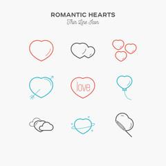 Hearts, romantic thin line colour icons set, vector illustration