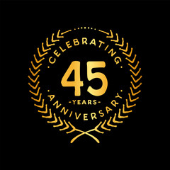 45 years design template. 45th vector and illustration.